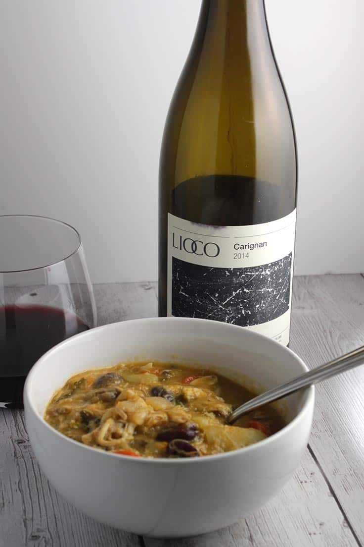 Chicken Stew with Lioco Carignan makes a very good wine pairing.