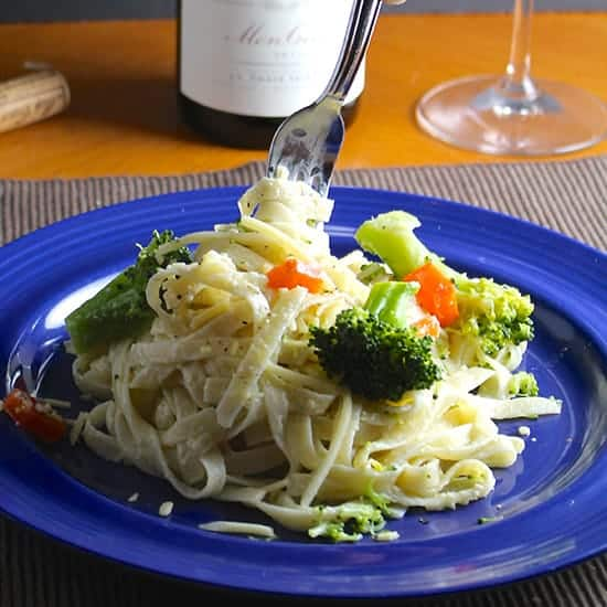 fettuccine primavera is an easy dish to make for Mother's Day