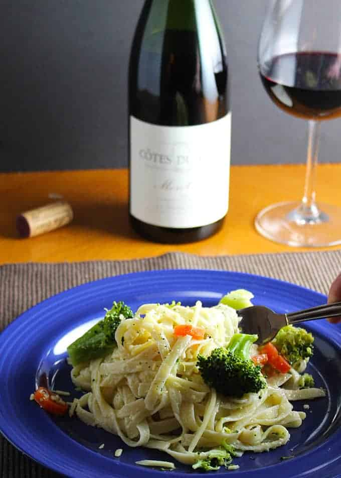 fettuccine primavera paired with Mon Couer Cotes Du Rhone . #winepairing