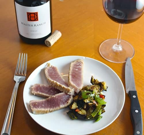 grilled tuna with spicy eggplant and peppers, Cooking Chat fish recipe roundup post.
