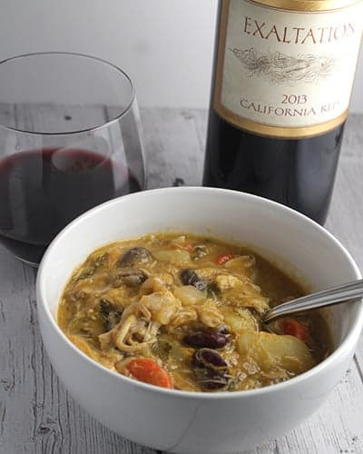 Hearty Chicken Stew with Exaltation Red Wine