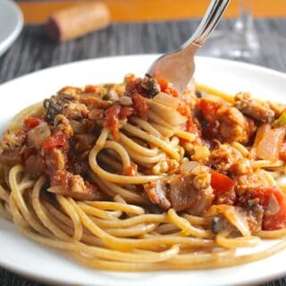Linguine with Meatless Meat Sauce. Vegan recipe from Cooking Chat.