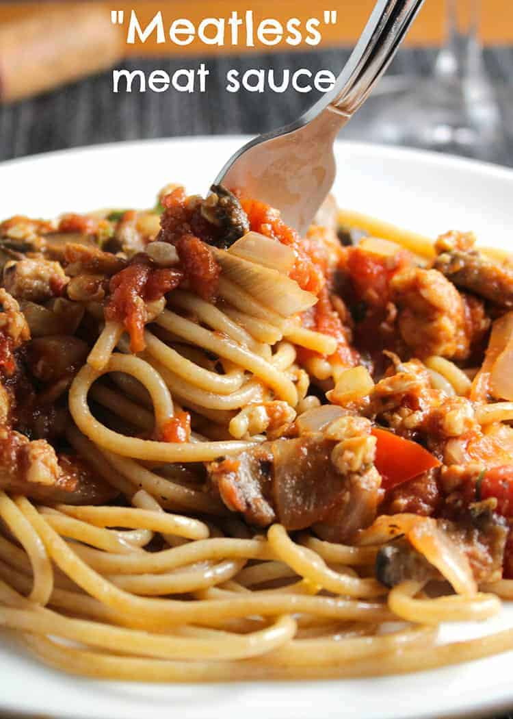 Linguine with Meatless Meat Sauce recipe makes for a hearty vegetarian pasta dinner.