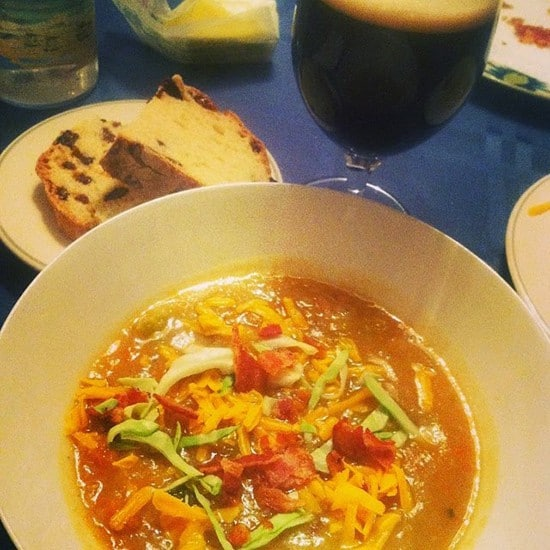 Irish potato cabbage soup with bacon and cheddar, served with soda bread and a Guinness.