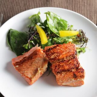 Salmon with Asian Greens featured in Cooking Chat tasty fish recipe roundup.