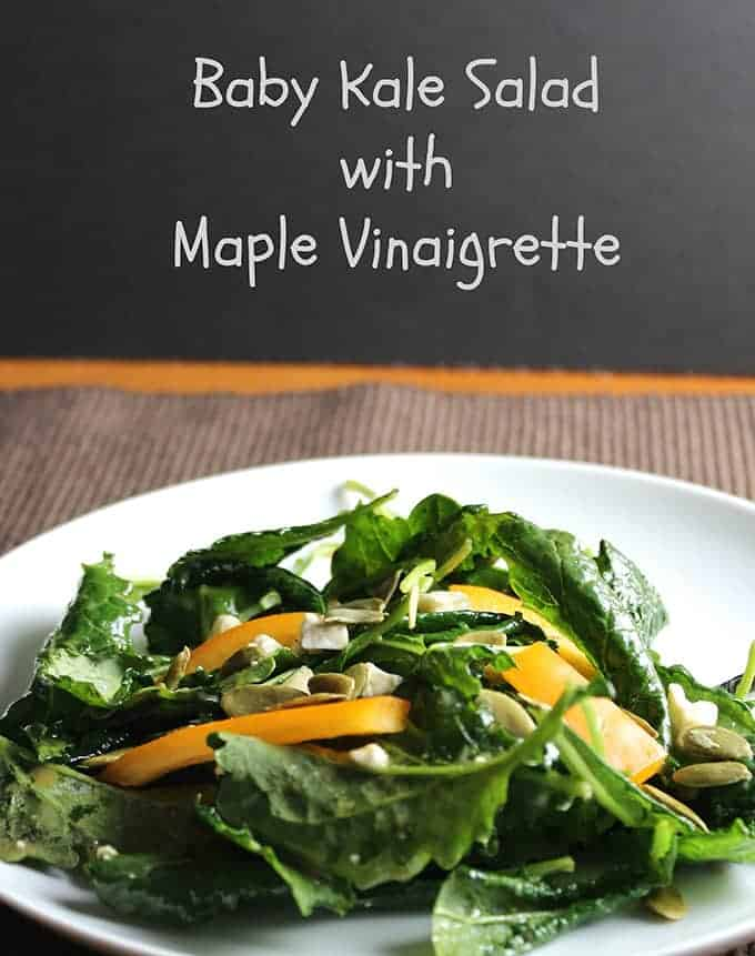Baby Kale Salad recipe features the tender, healthy greens tossed with a maple vinaigrette for a touch of sweetness.