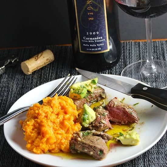 Avocado Chimichurri beef tenderloin paired with a Carmenere.