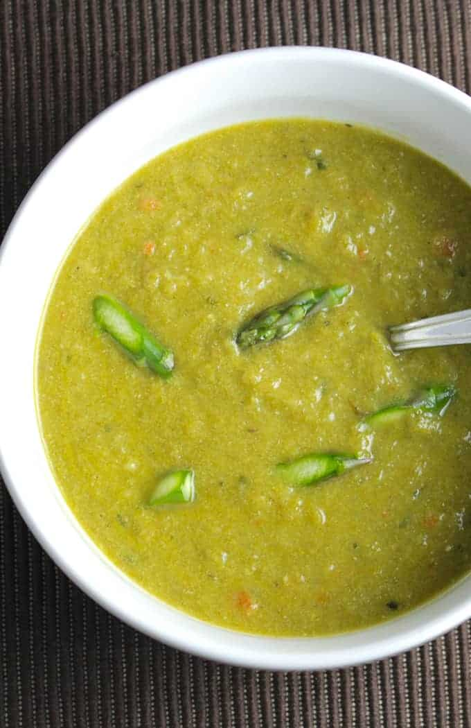 lightened cream of asparagus soup is a vegan recipe, full of spring flavor without the heavy cream.