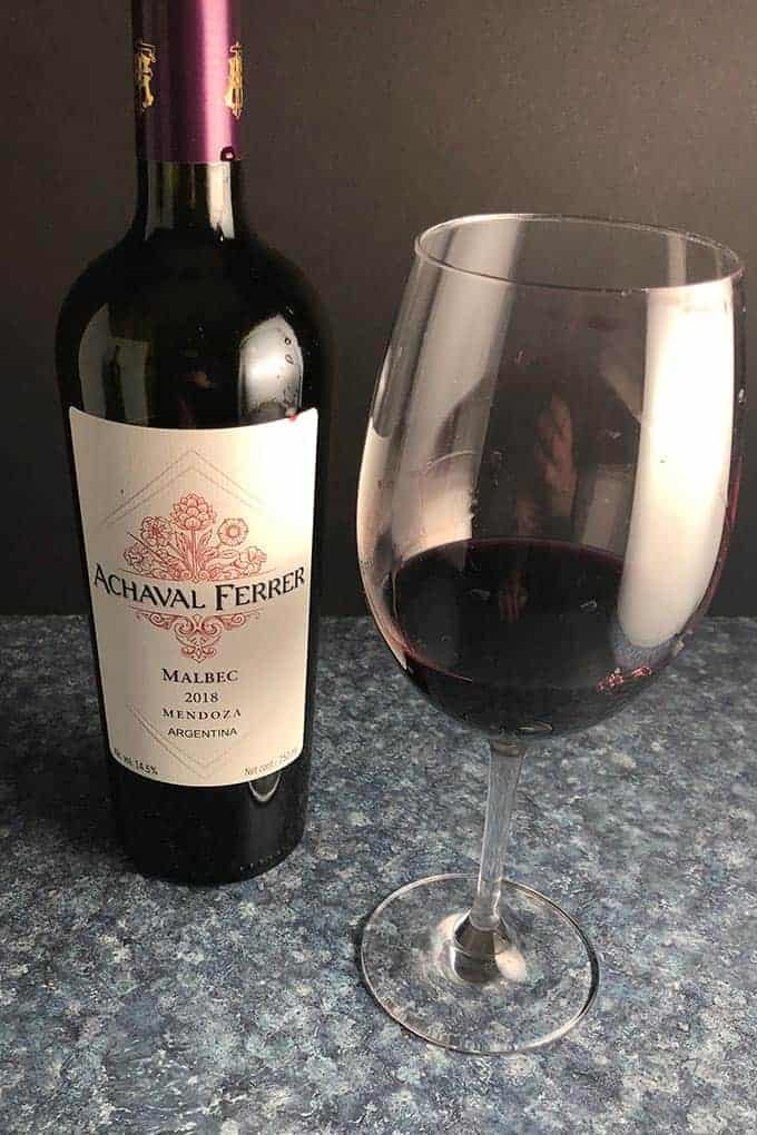 bottle and glass of Achaval Ferrer Malbec