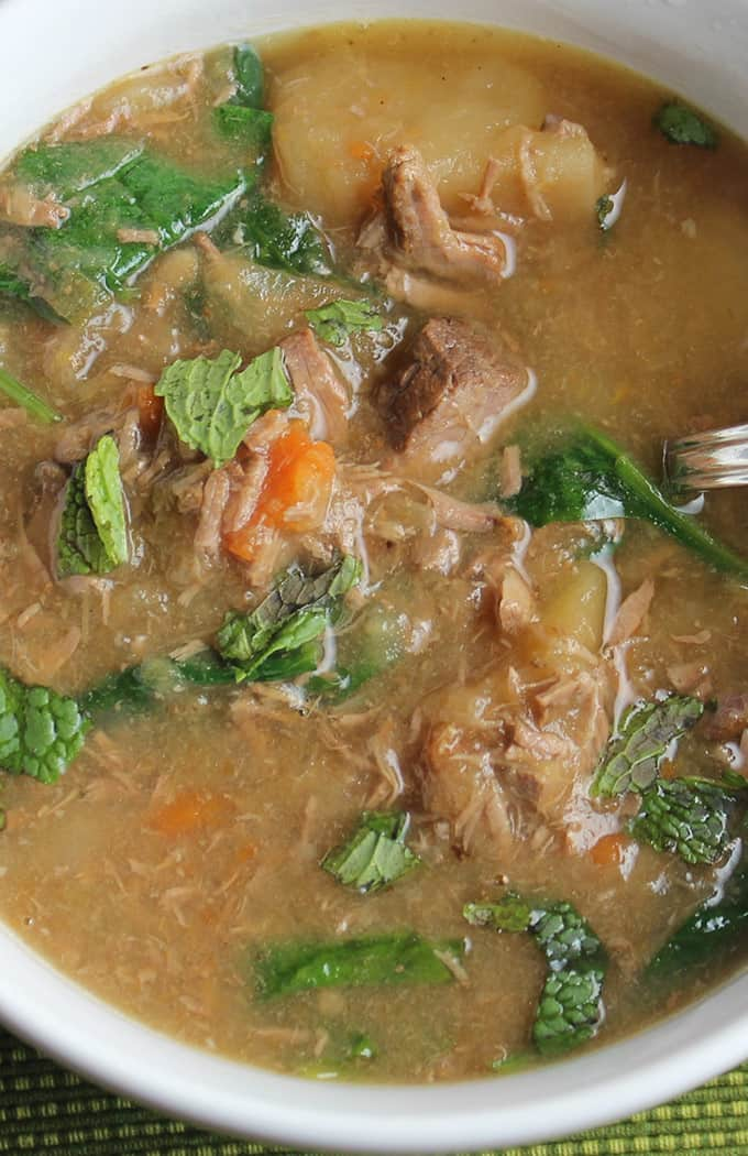 Slow Cooker Irish Lamb Stew recipe with tender meat and Irish vegetables for St. Patrick's Day or any chilly night you want a hearty meal.