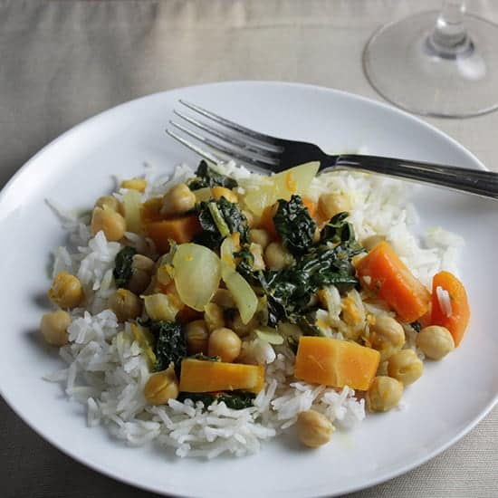 Kale Butternut Curry paired with an Italian wine.