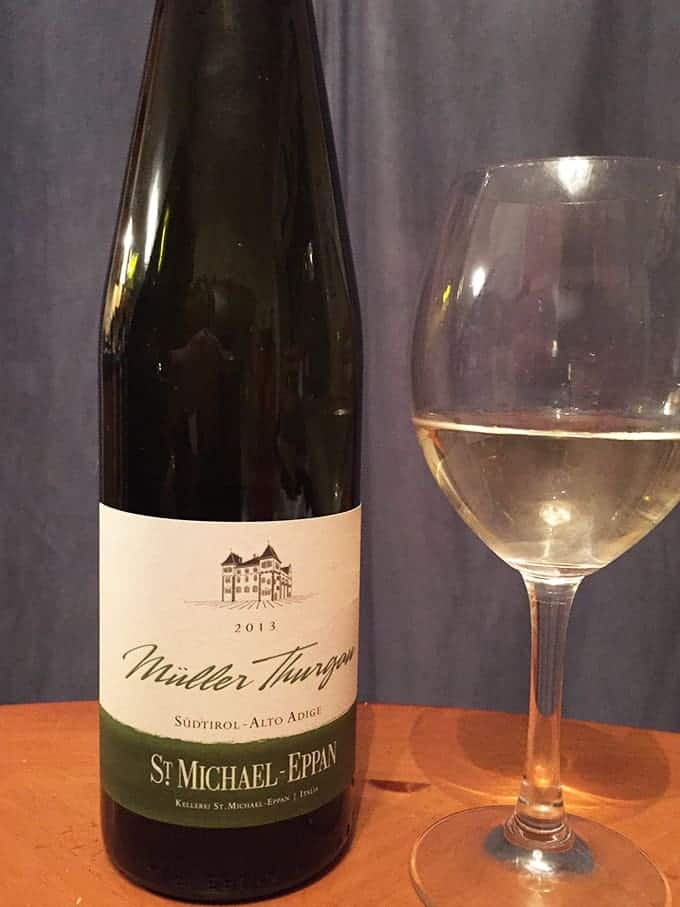 St. Eppan Muller Thurgau Italian white wine is food friendly. Worked with Indian curry!