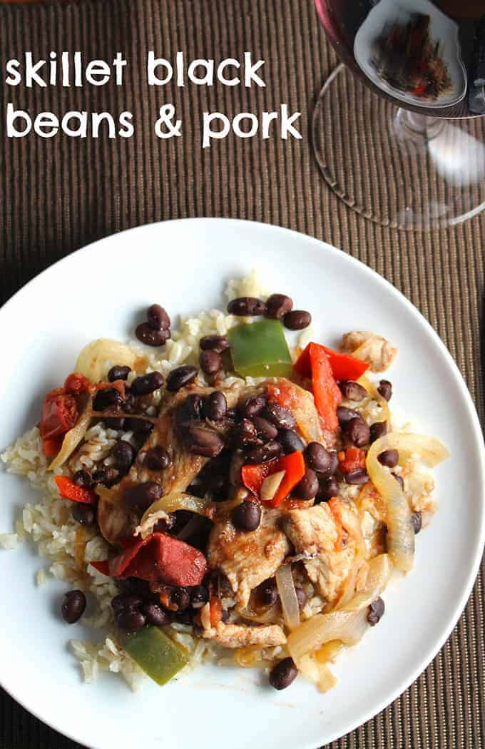 Skillet Black Beans and Pork tasty & easy recipe for #SundaySupper.