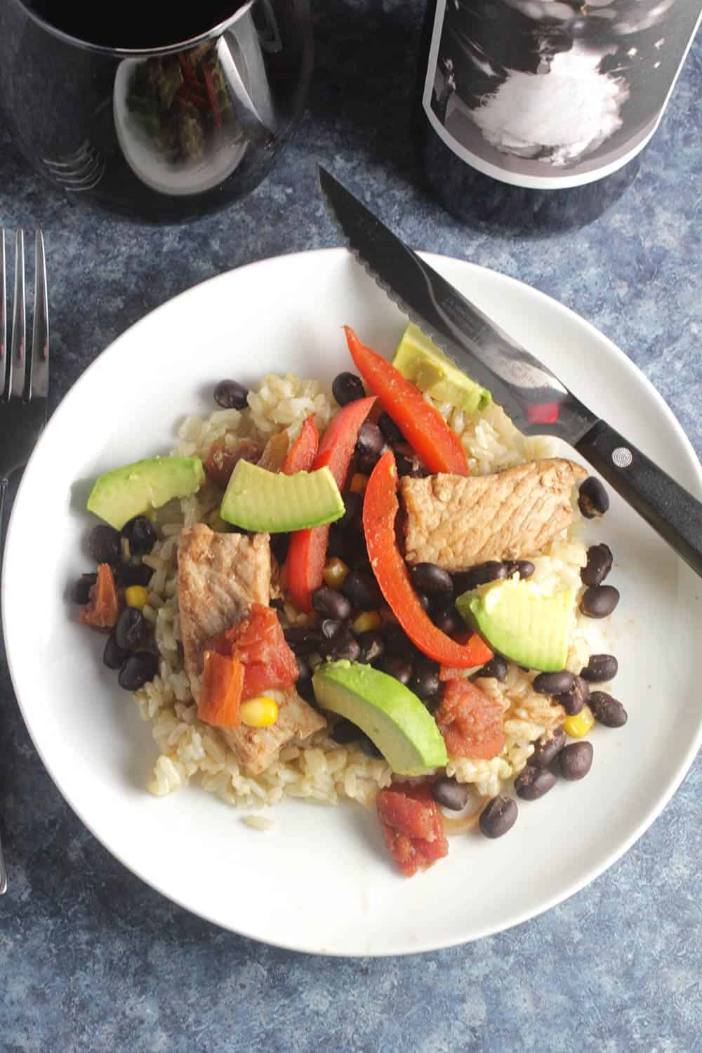 skillet pork and black beans