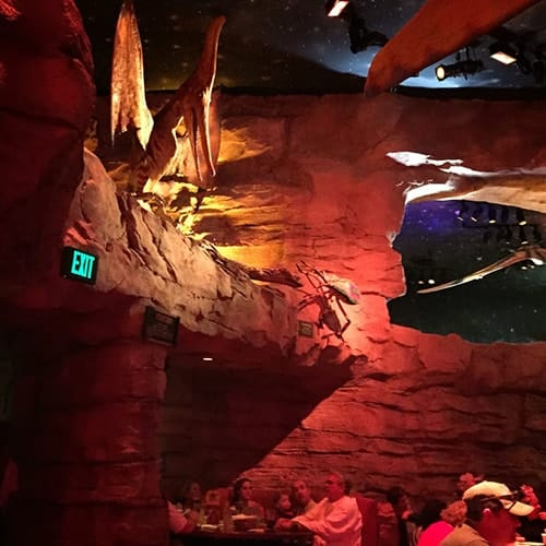inside the T Rex Cafe, from post on allergy-friendly Disney dining