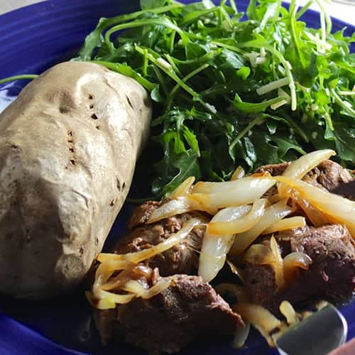 Beef Tenderloin Tips with Caramelized Onions. Serve with baked potato and a simple green salad.