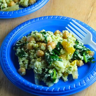 Couscous Veggie Salad with Pesto #SundaySupper