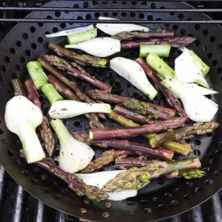 Grilled Asparagus and Onions recipe from Cooking Chat.