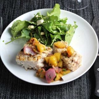 Grilled Swordfish with Pineapple Salsa, for Labor Day Grilling Roundup. | cookingchat.com