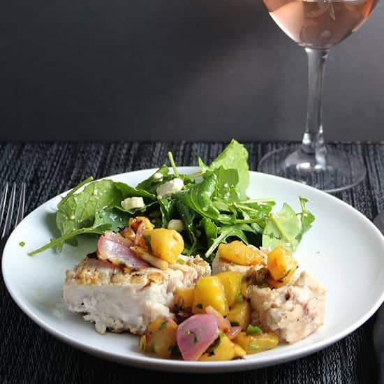 Grilled Swordfish with Pineapple Salsa, paired with a rose from Provence.