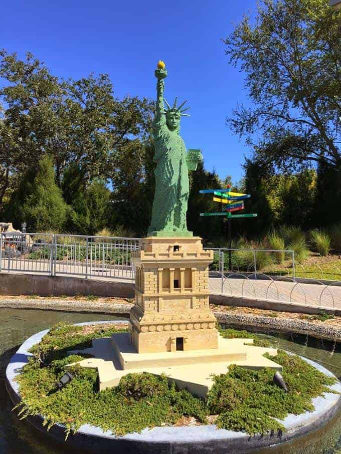 Lego Statue of Liberty, Legoland Florida. From post on Winter Haven family dining.