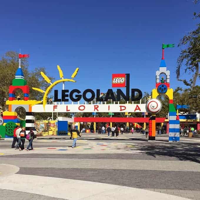 Legoland entrance from post on family dining options in Winter Haven