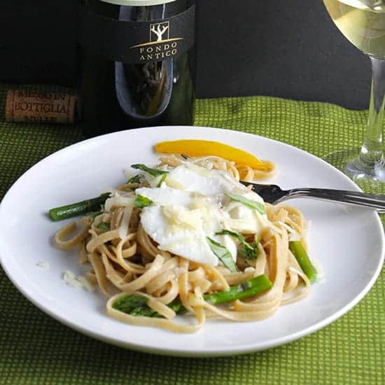 Grillo wine with Linguine, Cod and Asparagus