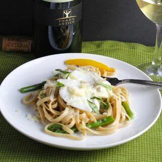linguine with cod & asparagus