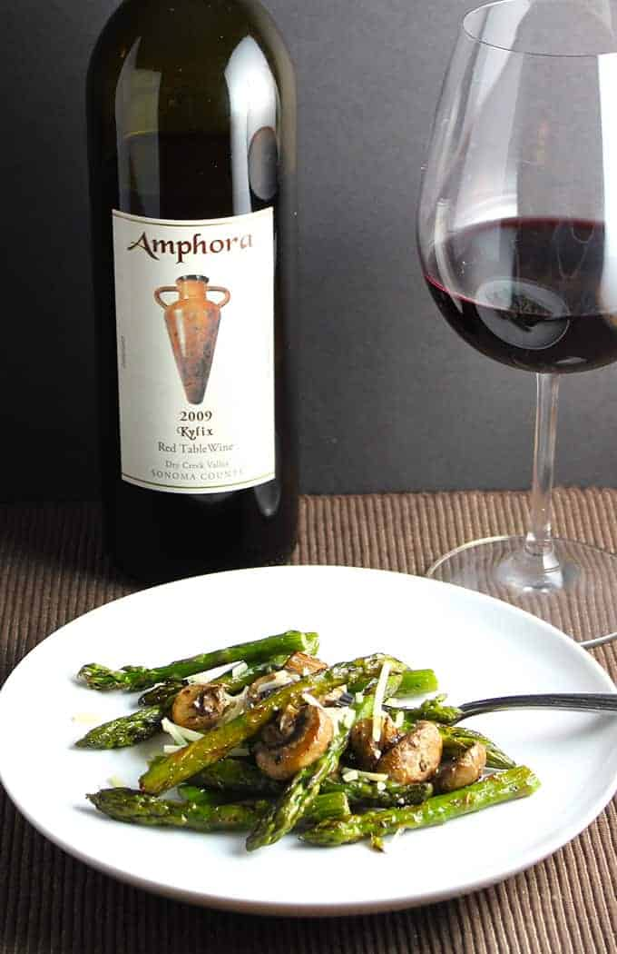Roasted asparagus with mushrooms recipe, pairs very well with a red wine. Serve with a steak for a great dinner!