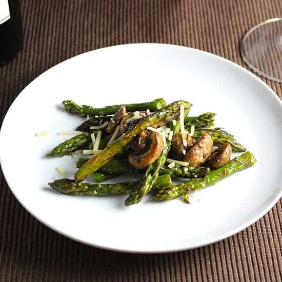 roasted asparagus and mushrooms. recipe from Cooking Chat.