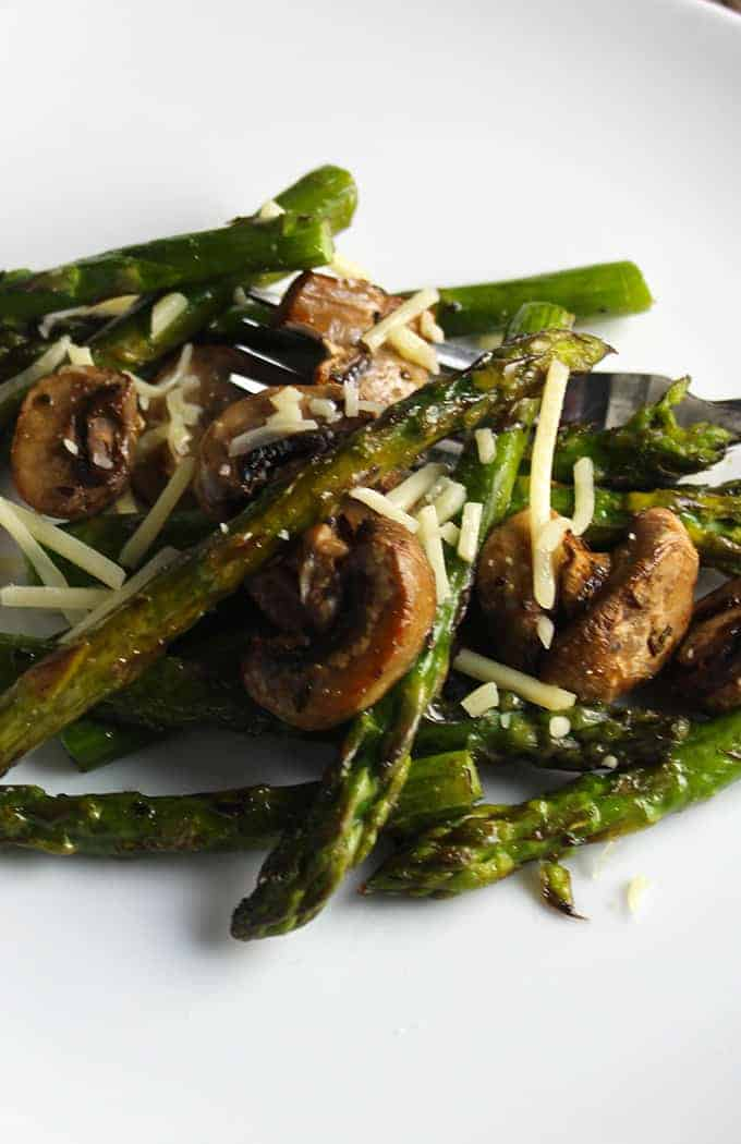 roasted asparagus and mushrooms. Cooking Chat recipe.