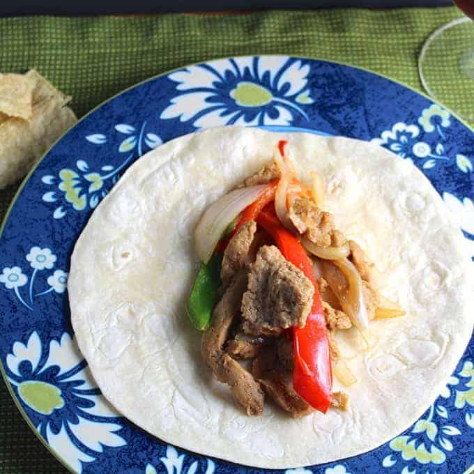 Sizzling Seitan Fajitas. Vegan recipe from Cooking Chat.