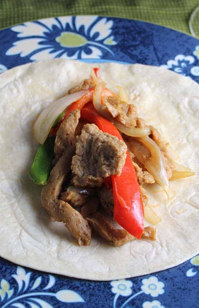 Sizzling Seitan Fajitas recipe for #WeekdaySupper.