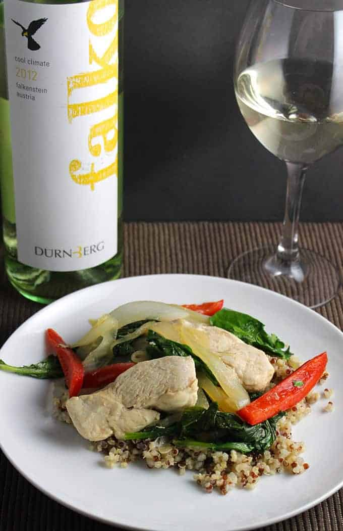 Skillet Chicken and Baby Kale, paired with the Durnberg Falko Austrian white wine.
