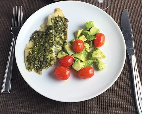Tilapia with Pesto and an avocado salad
