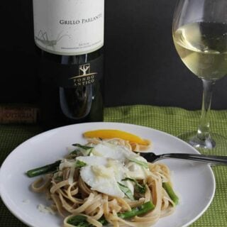 Grillo Parlante Sicilian wine pairs nicely with asparagus and cod linguine.