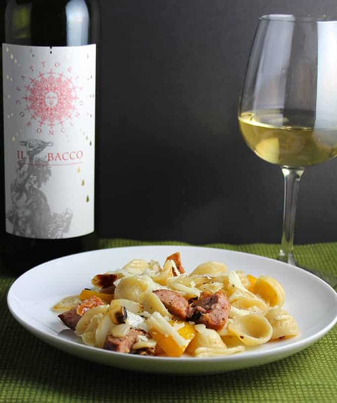 Orecchiette with Grilled Sausage and a Verdicchio