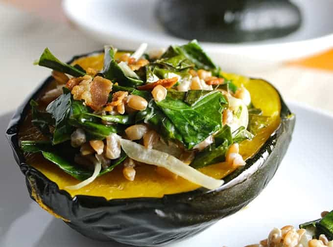 Acorn Squash with Farro and Chard, to be featured in upcoming Cooking Chat cookbook.