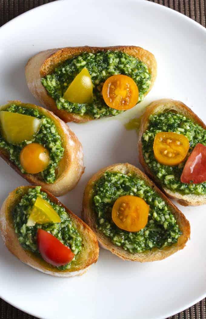 Classic Basil Pesto Crostini for #SundaySupper