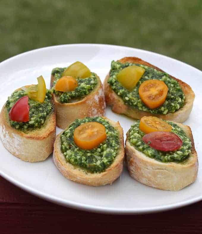 Classic Basil Pesto Crostini recipe from Cooking Chat