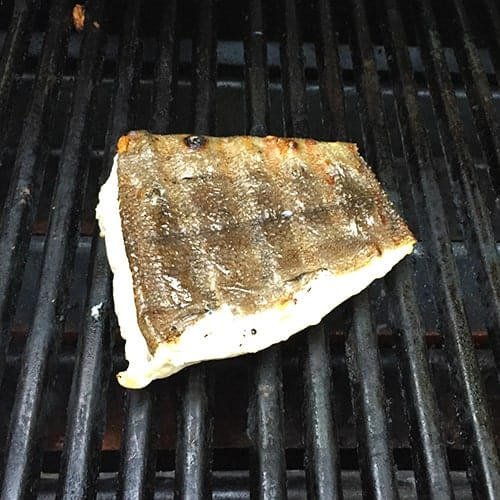 grilling halibut to be topped with mango salsa