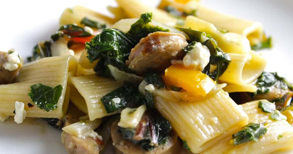 Rigatoni with Chicken Sausage and Greens, from Collards and Kale Cookbook.