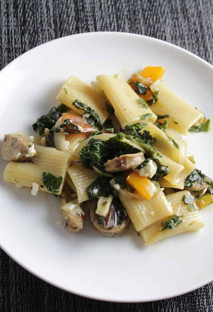 Rigatoni with Chicken Sausage and Greens, featured in Collards
