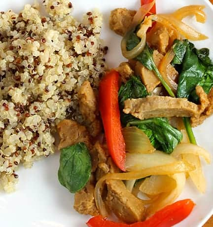 Seitan with Spinach Onions and Peppers, recipe found in Collards & Kale Cookbook.