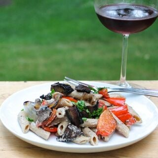 Grilled Portobello Mushroom Pasta paired with a Burgundy.