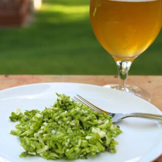 Mystic Brewery Farmhouse Ale paired with a raw asparagus salad with parmesan dressing.