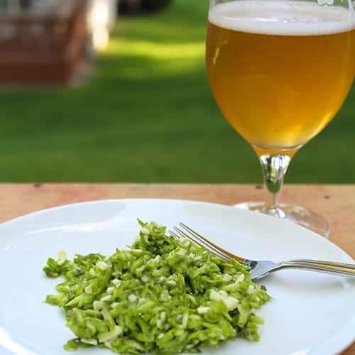 Mystic Brewery Farmhouse Ale with raw asparagus salad