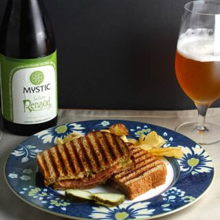 Saison Renaud Ale with Grilled Cheese and Salame