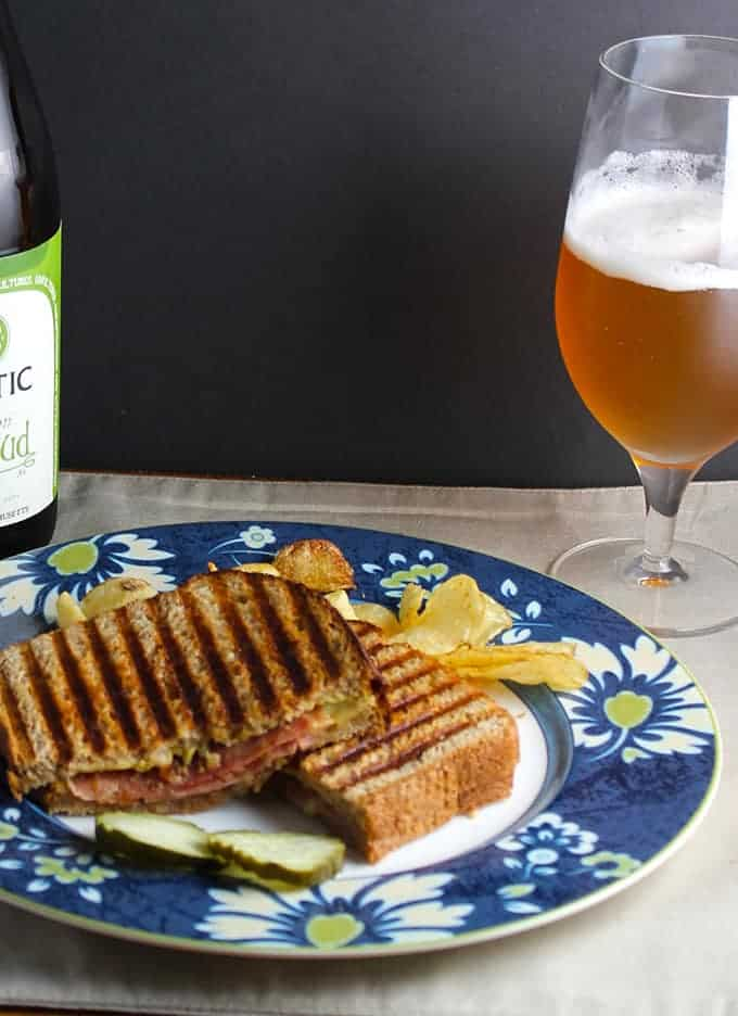 Mystic Brewery Saison Renaud Ale with Grilled Cheese and Salame