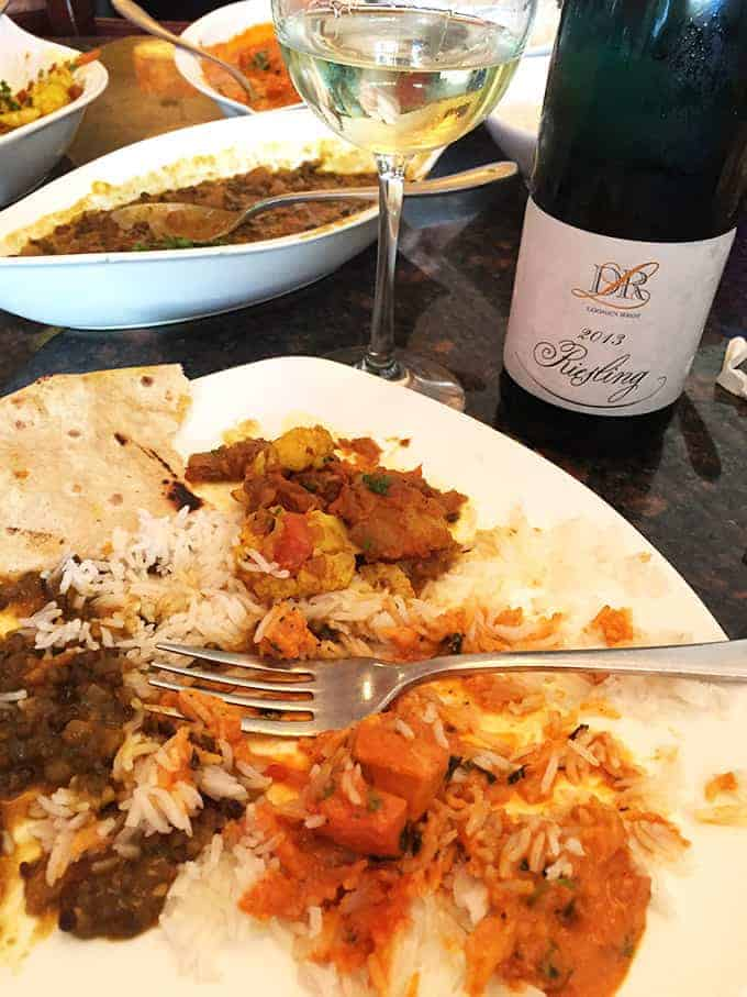 Riesling with Indian food at Zaika Indian Bistro